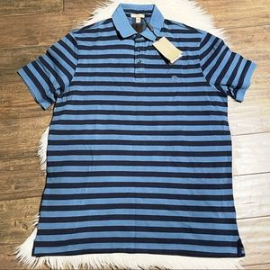 {Burberry} Blue Cobalt Stripe Polo Short Sleeve